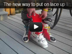 The new way to put on lace up liner ski race boots